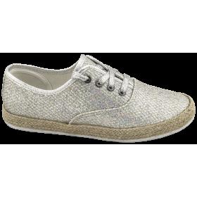 Дамски спортни обувки - текстилен материал с брокат - сребро - EO-10323