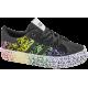 Дамски маратонки - еко-кожа с текстил - черни - EO-10293