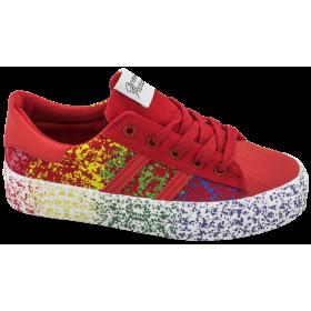 Дамски маратонки - еко-кожа с текстил - червени - EO-10295