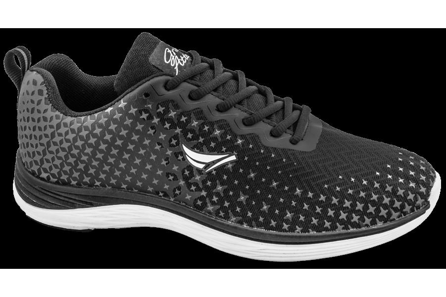 Дамски маратонки - еко-кожа с текстил - черни - EO-10331