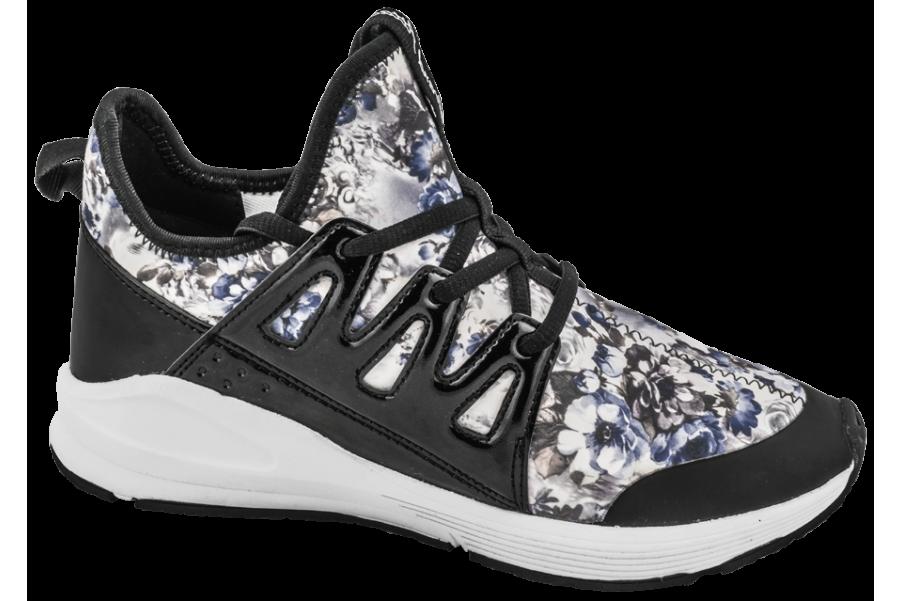 Дамски маратонки - висококачествен текстилен материал - черни - EO-10327