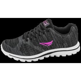 Дамски маратонки - висококачествен текстилен материал - черни - EO-10300