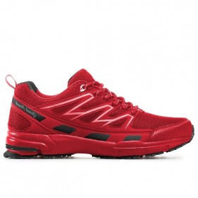 Мъжки маратонки - висококачествена еко-кожа - червени - EO-11442