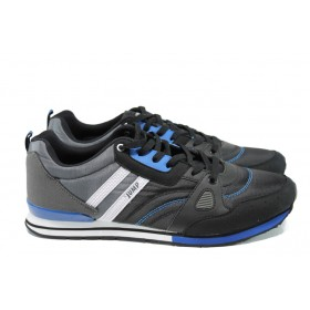 Мъжки маратонки - еко-кожа с текстил - черни - EO-9863