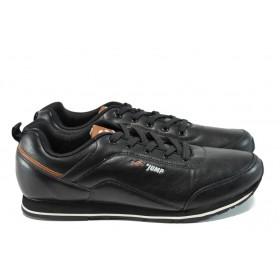Мъжки маратонки - висококачествена еко-кожа - черни - EO-9864