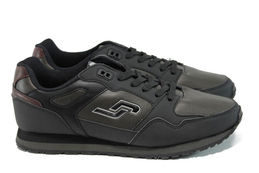 Мъжки маратонки - висококачествена еко-кожа - черни - EO-9867