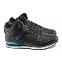 Мъжки маратонки - висококачествена еко-кожа - черни - EO-9868