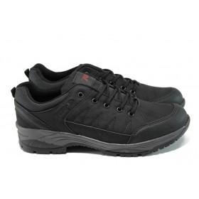 Мъжки маратонки - висококачествена еко-кожа - черни - EO-9870