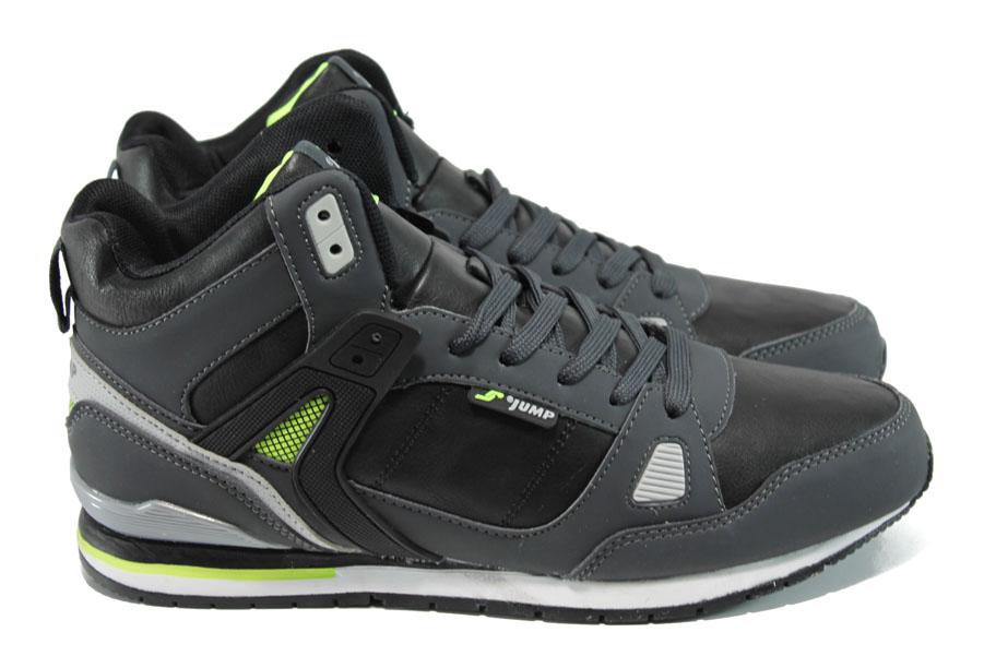 Мъжки маратонки - висококачествена еко-кожа - черни - EO-9869