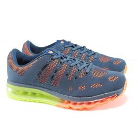 Мъжки маратонки - висококачествен текстилен материал - сини - EO-10048