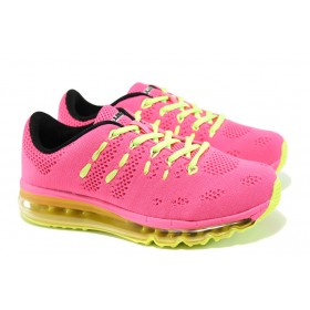 Дамски маратонки - висококачествен текстилен материал - розови - EO-10051