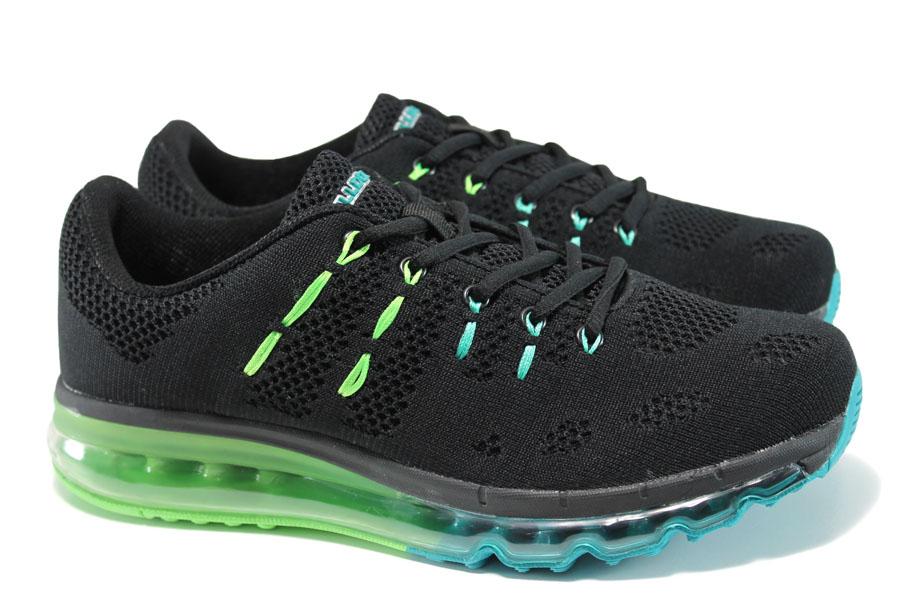 Мъжки маратонки - висококачествен текстилен материал - черни - EO-10049