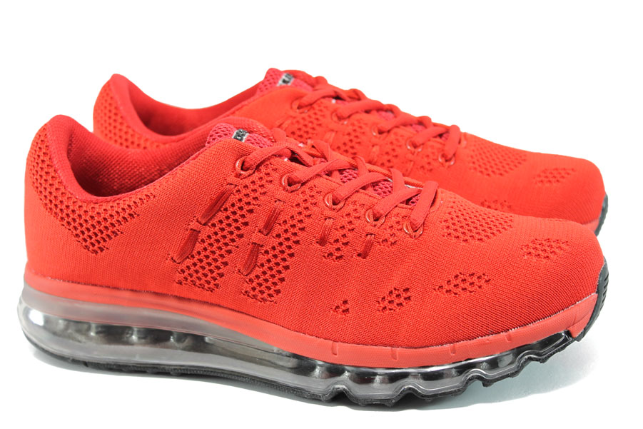 Мъжки маратонки - висококачествен текстилен материал - червени - EO-10050
