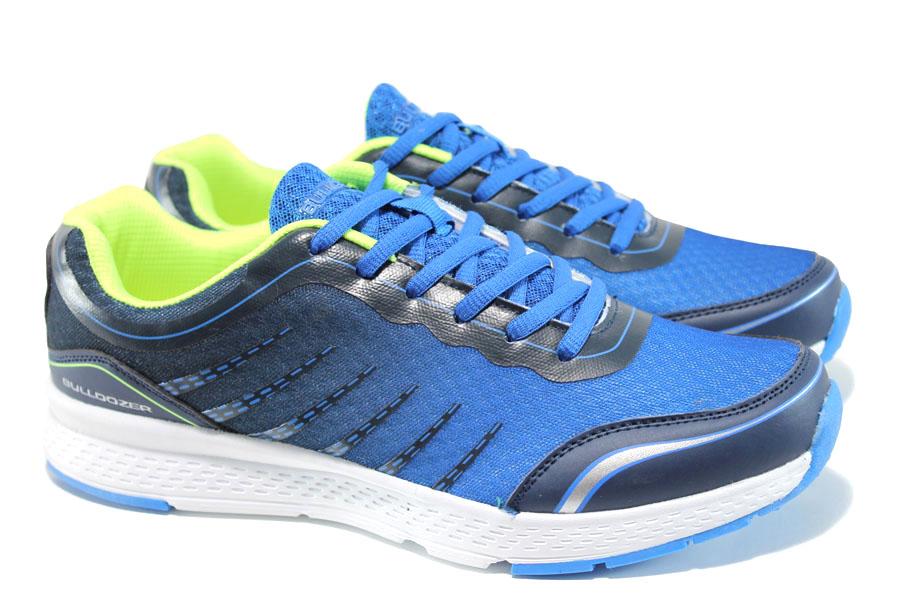 Мъжки маратонки - висококачествен текстилен материал - сини - EO-10056