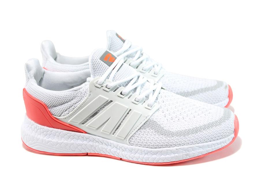 Дамски маратонки - висококачествен текстилен материал - бели - EO-10066