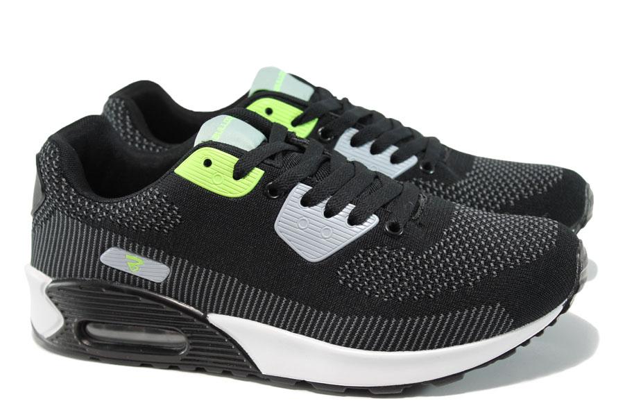 Мъжки маратонки - висококачествен текстилен материал - черни - EO-10059