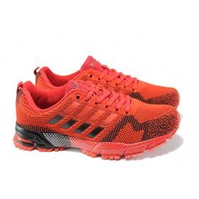 Юношески маратонки - висококачествен текстилен материал - червени - EO-10068