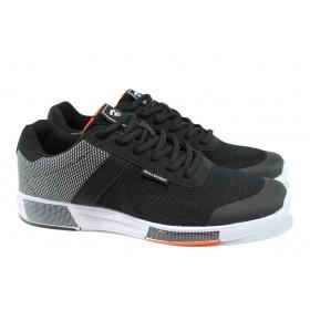 Мъжки маратонки - висококачествен текстилен материал - черни - EO-10060