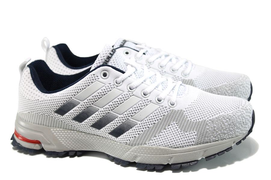 Мъжки маратонки - висококачествен текстилен материал - бели - EO-10053