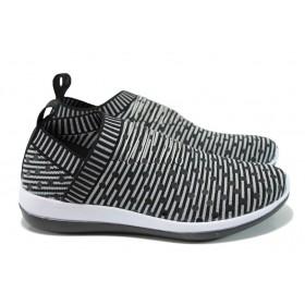 Дамски маратонки - висококачествен текстилен материал - черни - EO-10069