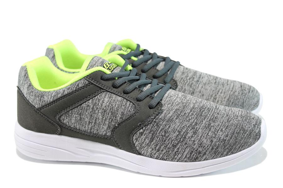 Мъжки маратонки - висококачествен текстилен материал - сиви - EO-10063