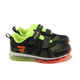Детски маратонки - висококачествен текстилен материал - черни - EO-1
