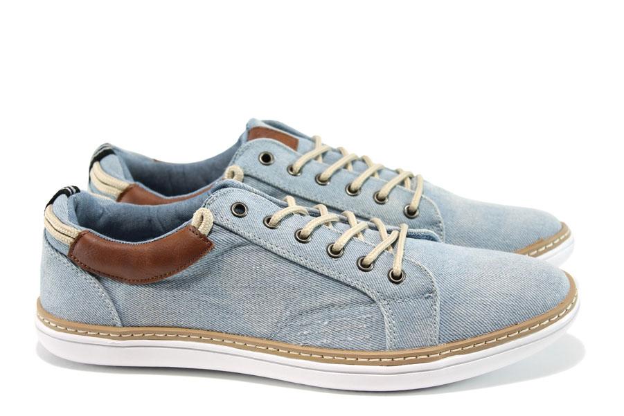 Спортни мъжки обувки - висококачествен текстилен материал - светлосин - EO-10305