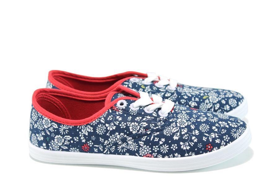 Дамски маратонки - висококачествен текстилен материал - сини - EO-10289