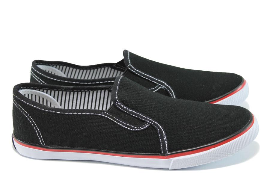 Дамски кецове - висококачествен текстилен материал - черни - EO-10606