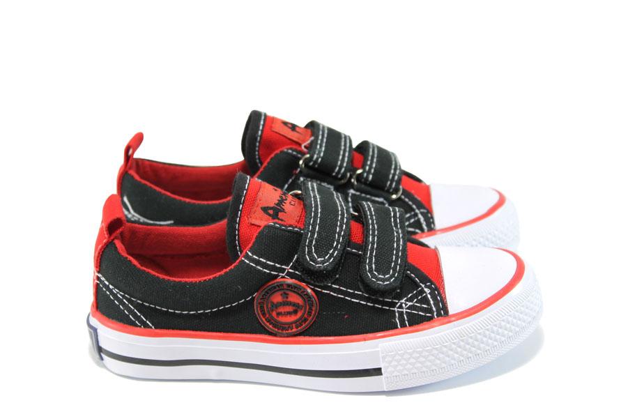 Детски маратонки - висококачествен текстилен материал - черни - EO-10613