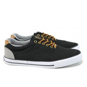 Спортни мъжки обувки - висококачествен текстилен материал - черни - EO-10631