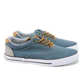 Спортни мъжки обувки - висококачествен текстилен материал - сини - EO-10632