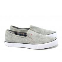 Спортни мъжки обувки - висококачествен текстилен материал - светлосив - EO-10635