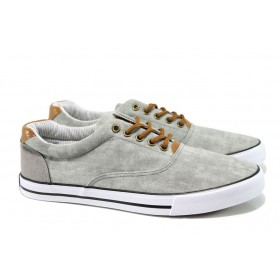 Спортни мъжки обувки - висококачествен текстилен материал - светлосив - EO-10633