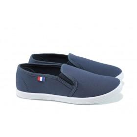 Дамски маратонки - висококачествен текстилен материал - сини - EO-10627