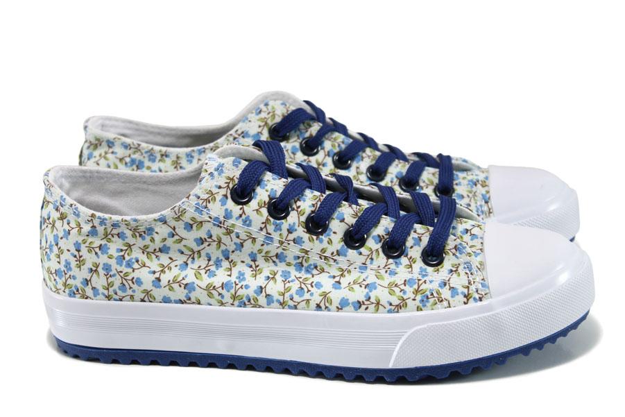Дамски маратонки - висококачествен текстилен материал - сини - EO-10688