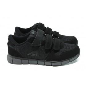 Дамски маратонки - еко-кожа с текстил - черни - EO-10848