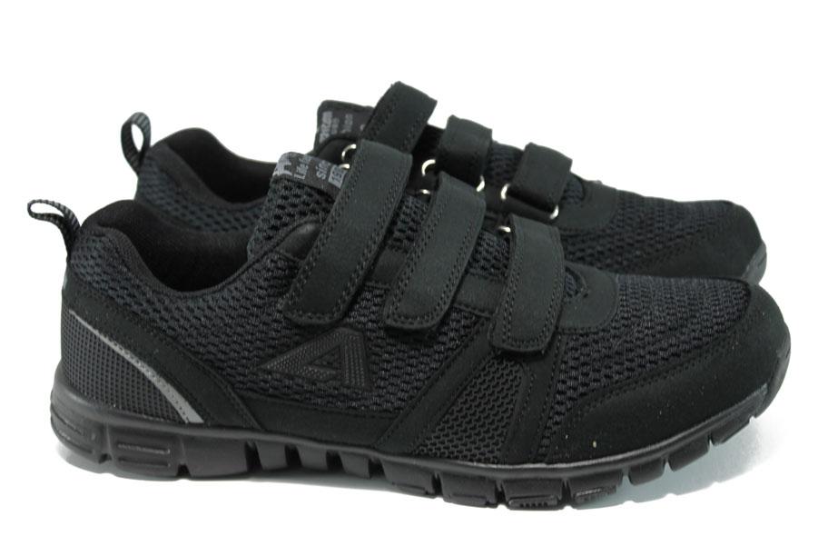 Мъжки маратонки - еко-кожа с текстил - черни - EO-10847