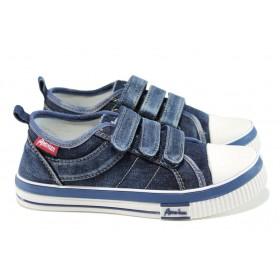 Дамски кецове - висококачествен текстилен материал - сини - EO-10962