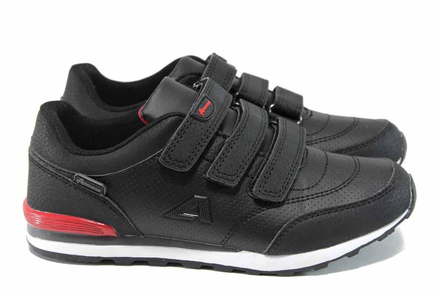 Детски маратонки - висококачествена еко-кожа - черни - EO-11197