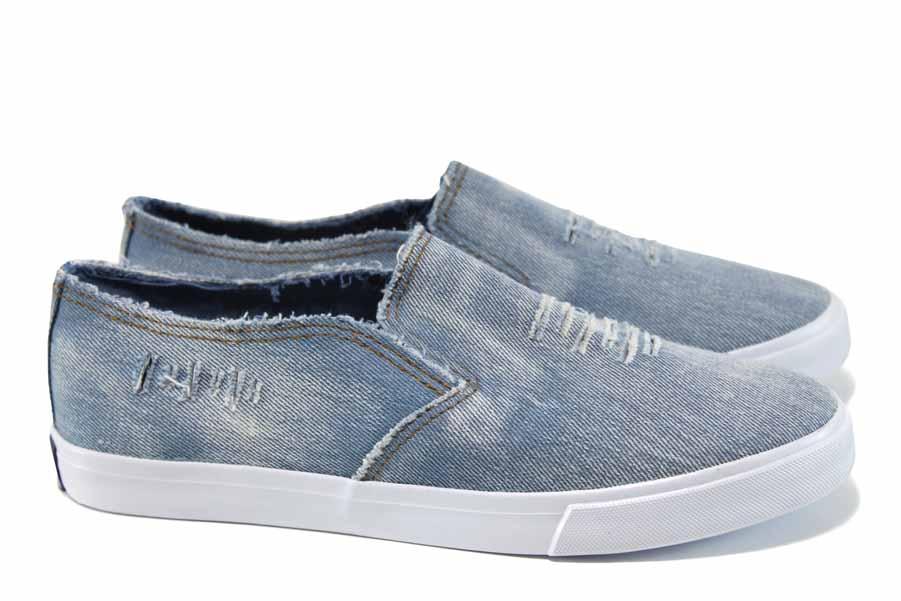 Детски кецове - висококачествен текстилен материал - сини - EO-11221
