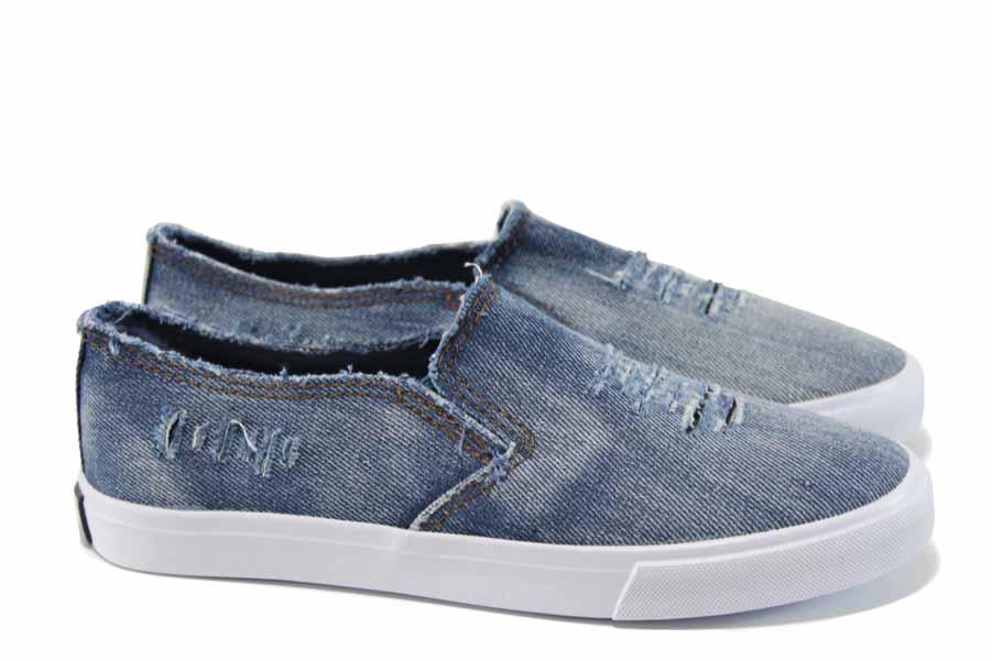 Детски кецове - висококачествен текстилен материал - сини - EO-11222