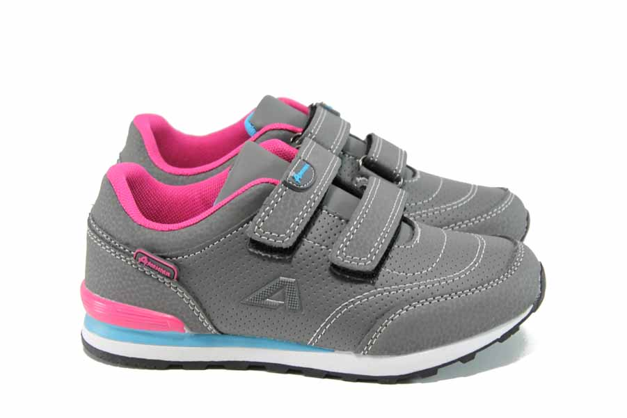 Детски маратонки - висококачествена еко-кожа - сиви - EO-11220