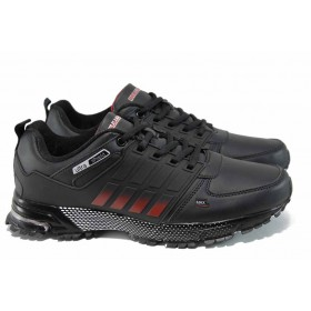 Мъжки маратонки - висококачествена еко-кожа - черни - EO-11404