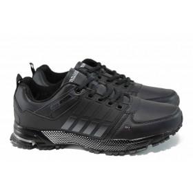 Мъжки маратонки - висококачествена еко-кожа - черни - EO-11403