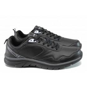 Мъжки маратонки - висококачествена еко-кожа - черни - EO-11401