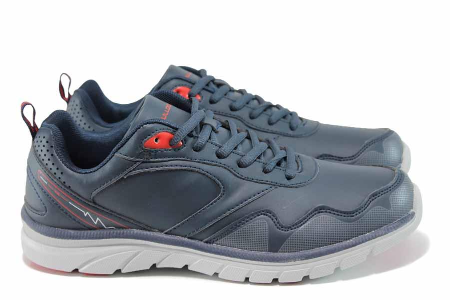 Мъжки маратонки - висококачествена еко-кожа - сини - EO-11400
