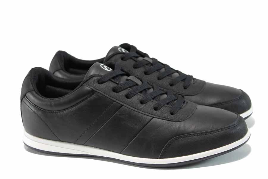 Мъжки маратонки - висококачествена еко-кожа - черни - EO-11402