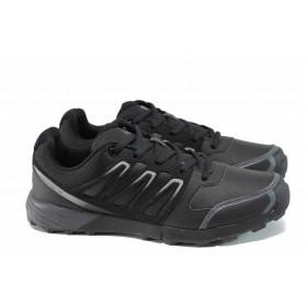 Мъжки маратонки - висококачествена еко-кожа - черни - EO-11405