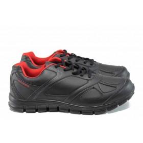 Мъжки маратонки - висококачествена еко-кожа - черни - EO-11399